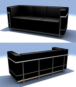 le corbusier leather couch 3d model