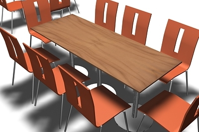 cafe dining tables chairs 3d model
