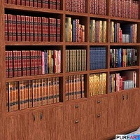 3d furniture bookcase books