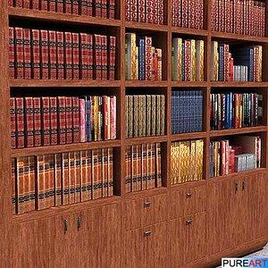 3d furniture bookcase books