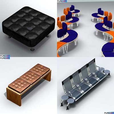 3d model office furniture bench ofc1