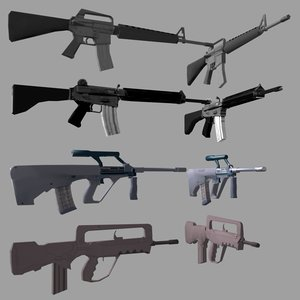 world assault rifles 3d model