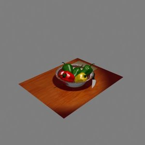 3d model of vegetables peppers