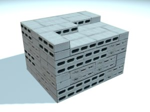 stack concrete blocks 3d model
