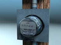 3d electric meter model