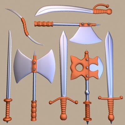 fantasy weapons axe swords 3d 3ds