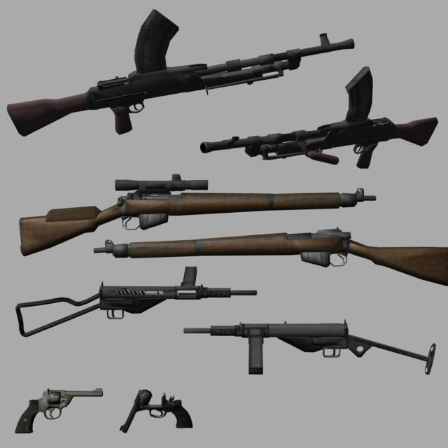 enfield machine gun 3d model