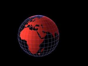 earth globe wireframe 3d model