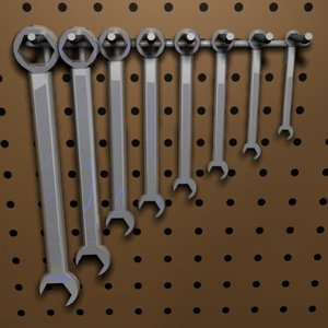 3d set wrenches model