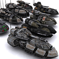real-time sci-fi hover tanks 3d model