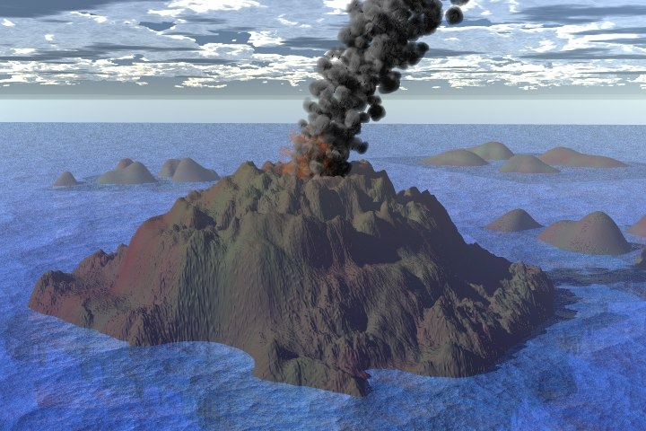 volcano smoking 3d model