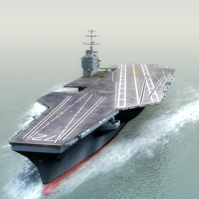 aircraft carrier uss cvn 3d model