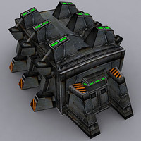 3d model sci-fi military building