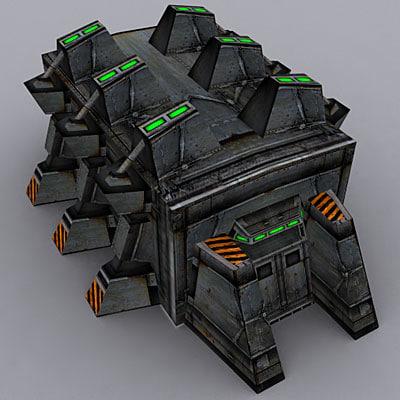 3d model sci-fi military building