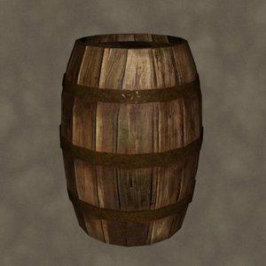 wooden barrel zipped 3d model