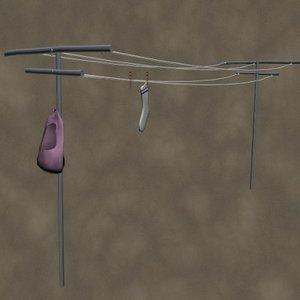 3d model clothes line zipped