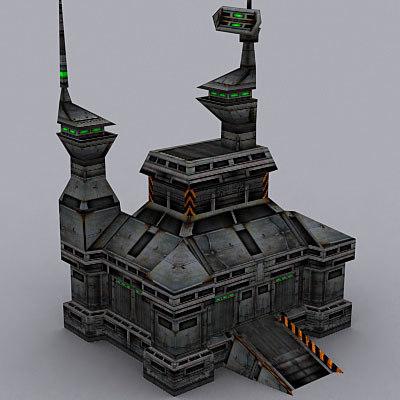 3dsmax sci-fi military building