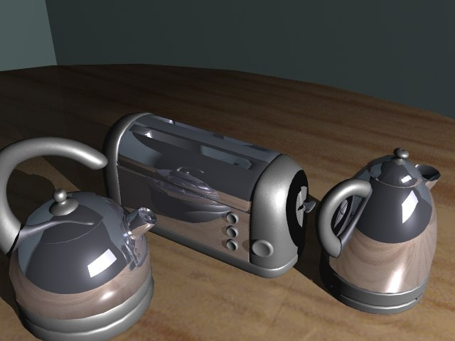 traditional kettle toaster 3d lwo