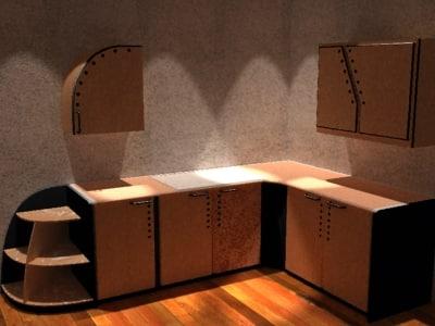 modern kitchenette cabinets kitchen 3d model