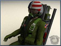 usaf pilot 3d model
