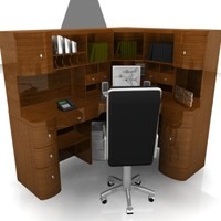 home computer desk 3d model