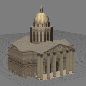 3d model pantheontowerchurcharchitecturehousebuildingstructuremonumentparis