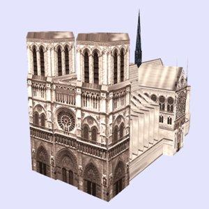 3d model notredametowerchurcharchitecturehousebuildingstructuremonumentparis