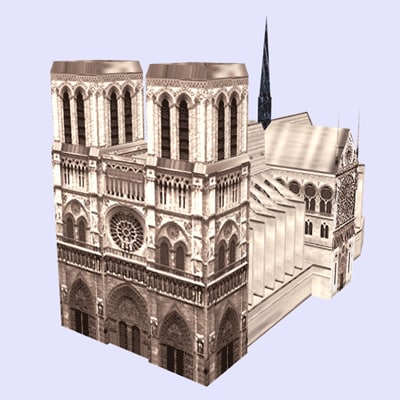3d model notredametowerchurcharchitecturehousebuildingstructuremonumentparis
