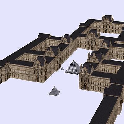 3d model of louvre