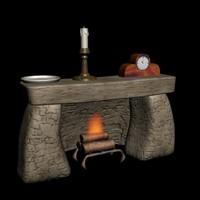fireplace clock plate 3d model