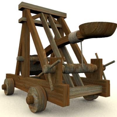 medievil catapult 3d model
