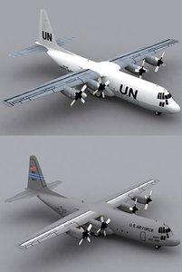3d model hercules c-130 h-30 usaf