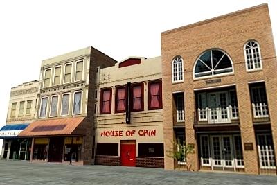 3d urban highstreet buildings