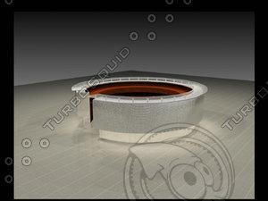 max office entrance circle desk