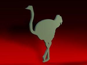 birds ostrich 3ds