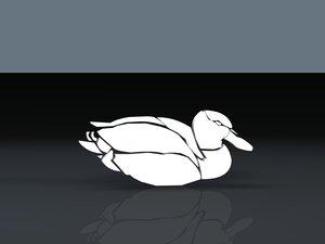 3d model of birds duck