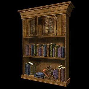 3d realtime bookshelf books