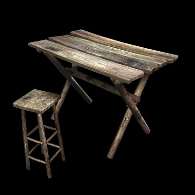 3ds max real time table stool