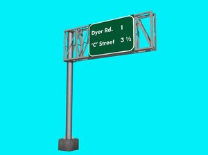3d model of overhead sign