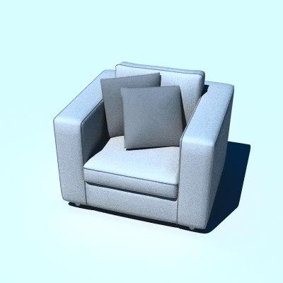 3d lwo armchair modern chair