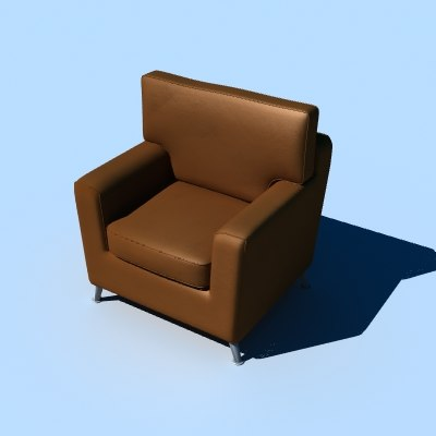 3d model of retro armchair chair