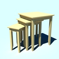 3d wooden tables model