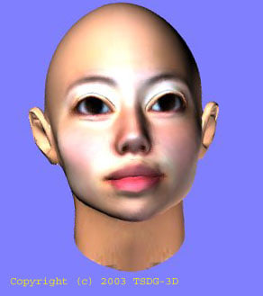 elven asian female head 3ds