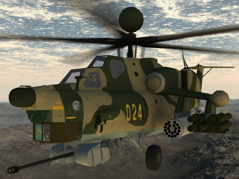 mi-28n gunship russian 3d model