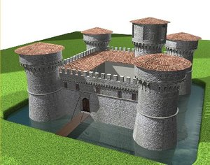 castle italian scene 3d model