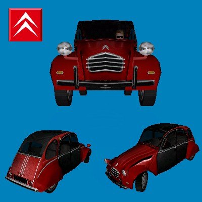 citroen 2cv french car 3d model