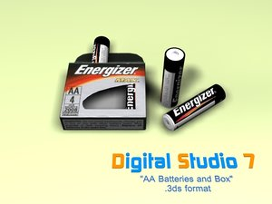 aa batteries 3d 3ds