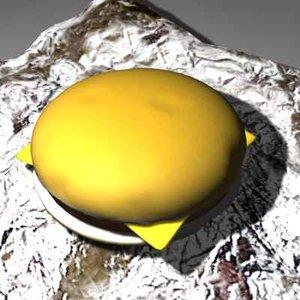 3d hamburger cheese model