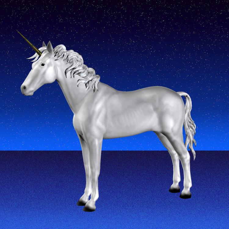 unicorn mythical horned 3d model