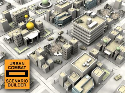urban combat scenario builder 3d model